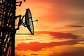 Silhouette Satellite Tower At Sunset Stock Photos - 50561933