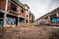 Abandoned Factory, Destroyed With Graffiti On The Walls Stock Photos - 50570443