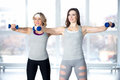 Team Of Sporty Young Females Having Intensive Aerobics Training Royalty Free Stock Image - 50572556