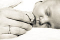 Hand The Sleeping Baby Girl In The Palm Of Mother Stock Photo - 50580500