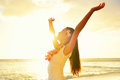 Happy Carefree Woman Free In Hawaii Beach Sunset Royalty Free Stock Photo - 50582065