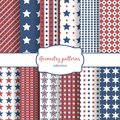 Stars And Stripes Pattern Seamless Patterns Set Royalty Free Stock Images - 50591219