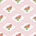 Seamless Pattern With A Bouquet Of Roses In The Vignette And Polka Dots. Stock Images - 50595984