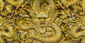 Golden Dragon Sculpture Carving Royalty Free Stock Images - 50599989