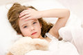 Sick Little Girl Lying In The Bed Stock Photography - 50601232
