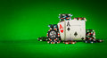 Chips And Two Aces Royalty Free Stock Images - 50602609
