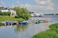 Fishing Boats And Motor Ships In Volga River In Summer, Russia. Royalty Free Stock Images - 50603609