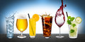 Row Of Various Beverages Stock Photography - 50604592