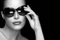 Fashion Model Woman In Black Oversized Sunglasses. Monochrome Po Stock Images - 50604984