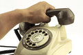 Vintage Picture Style Of New Smart Phone With Old Telephone On White Background. New Communication Technology Royalty Free Stock Photography - 50608767
