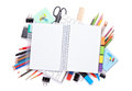 Blank Notepad Over School And Office Supplies On Office Table Royalty Free Stock Images - 50610909