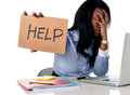 Black African American Ethnicity Frustrated Woman Working In Stress At Office Stock Photo - 50612290