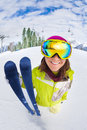 Smiling Woman In Ski Mask Close-up View From Up Royalty Free Stock Image - 50615446