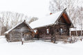 Traditional Rural Wooden House In Winter Stock Images - 50616614
