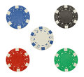 Five Poker Chips Royalty Free Stock Photography - 50618657