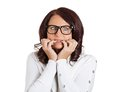 Scared Anxious Woman With Glasses Biting Fingernails Stock Images - 50618874