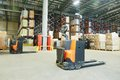 Pallet Stacker Truck At Warehouse Stock Photo - 50632240
