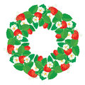 Circle Ornament With Strawberries In Heart Shapes With Flowers Royalty Free Stock Images - 50635579