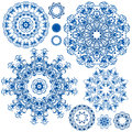 Set Of  Blue Floral Circle Patterns. Background In The Style Stock Image - 50635591
