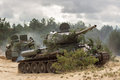 Russian Military Tank T34 On Battlefield Stock Photography - 50636482