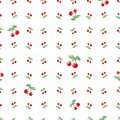 Seamless Pattern With Watercolor Cherry. Endless Repeating Print Background Texture. Fabric Design And Wallpaper Vector Illustrati Stock Photo - 50642200