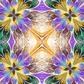 Symmetrical Pattern In Stained-glass Window Style. Blue, Green A Royalty Free Stock Photo - 50644635