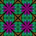 Symmetrical Fractal Pattern In Stained-glass Window Style. Purpl Royalty Free Stock Photos - 50646728