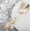 Closeup Of Vintage Lacy White Cloth Handmade German Silver Fork And Spoon Stock Photo - 50656290