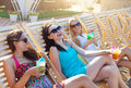 Girls With Beverages On Summer Party Near The Pool Royalty Free Stock Photo - 50672205