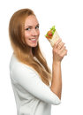 Woman Eating Tasty Unhealthy Burger Twisted Sandwich In Hands Stock Photo - 50676320