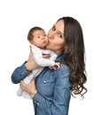 Mother Woman Hold And Kissing Beautiful Infant Child Baby Kid Gi Royalty Free Stock Photography - 50676387