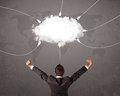 Young Man Looking At Cloud Transfer World Service Stock Images - 50682024