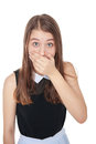 Young Scared Teenage Girl Covering Her Mouth With Hand Isolated Royalty Free Stock Photo - 50683245