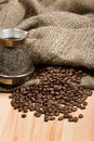 Cezve With Freshly Roasted Coffee Beans On Table Stock Photography - 5075392