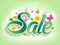 Spring Sale Word With Butterflies, Leaves And Flowers Royalty Free Stock Photography - 50710357