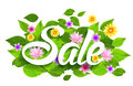 Spring Sale Word With Butterflies, Leaves And Flowers Royalty Free Stock Images - 50710379