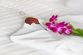 White Bathrobe On The Bed Stock Images - 50723834