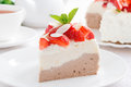 Piece Of Cake With Whipped Cream, Strawberries And Tea Royalty Free Stock Image - 50731306