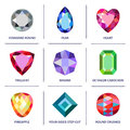 Low Poly Popular Colored Gems Cuts Infographics Stock Photos - 50742803