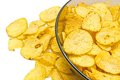 Glass Plate With Ruffles Potato Chips Stock Image - 50749131
