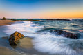 Waves Crashing On Rocks At Sunset, At Victoria Beach  Stock Photos - 50755773