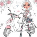 Vector Cute Girl With Scooter Stock Photo - 50762470