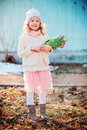 Portrait Of Happy Child Girl With Tulips For Woman S Day On The Walk In Early Spring Stock Image - 50767321