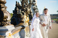 Just Married Couple On The Alexandre III Bridge Royalty Free Stock Images - 50768189