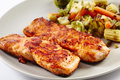 Grilled Salmon With Vegetables Royalty Free Stock Photo - 50770445
