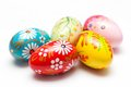 Hand Painted Easter Eggs On White. Spring Patterns Art Stock Photos - 50773613