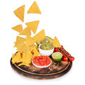 Guacamole With Nachos In Freeze Motion Royalty Free Stock Image - 50777426