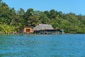 Tropical Restaurant And Cabin Over Water In Panama Stock Photography - 50792932