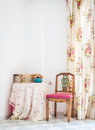 Vintage Style Interior With Table, Carved Chair And Floral Curtain Royalty Free Stock Image - 50816956