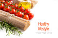 Whole Wheat Spaghetti, Vegetables And Olive Oil Royalty Free Stock Images - 50820449